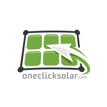logo design one click solar panels energy recycle sun power