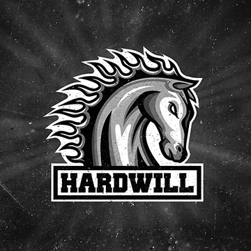 logo design hardcore hardwill hard music workout muscle fitness toning body nutrition supplements advice program sports