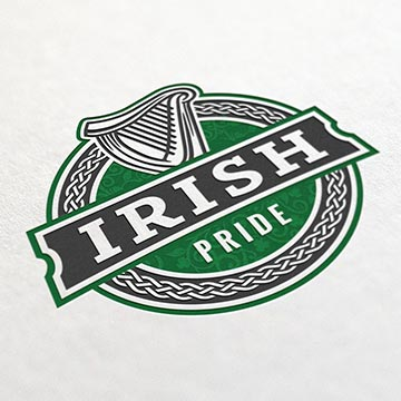 irish pub logo design harp illustration beef lager ireland green shamrock