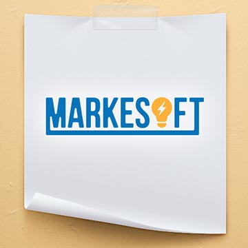 markesoft lightbulb idea logo design graphic illustration